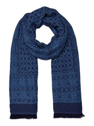 Dickins And Jones Donna Mixed Weave Blanket Scarf Blue