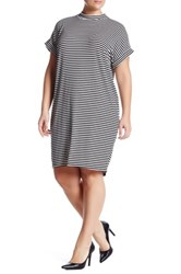 Bobeau Ribbed Striped Short Dolman Sleeve Dress Plus Black