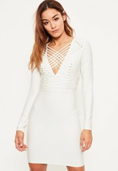 Missguided White Bandage Long Sleeve Strappy Bodycon Dress