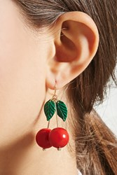 Forever 21 Cherry Drop Earrings Gold Red