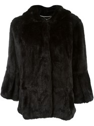 Twin Set Hooded Fur Coat Black