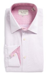 Ted Baker Men's Big And Tall London Falcon Trim Fit Solid Dress Shirt Purple