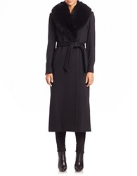 Sofia Cashmere Wool And Fur Trimmed Long Wrap Coat