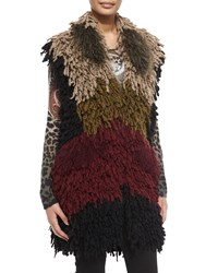 Etro Colorblock Twisted Weave And Fur Vest Women's
