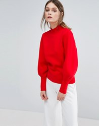 Selected Oversized Knit Sweater Red