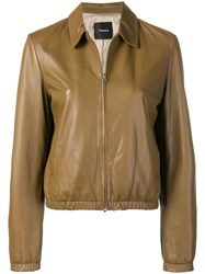 Theory Zipped Leather Jacket Brown
