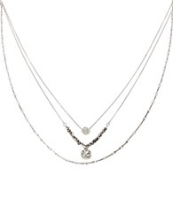 Kenneth Cole Pave Circle And Square Crystal Three Tiered Necklace Black Diamond