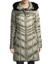 Bogner Fire And Ice Delia Shiny Hooded Quilted Puffer Coat W Fox Fur Gold Metallic