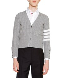 Thom Browne Cable Knit Cashmere V Neck Cardigan Light Gray