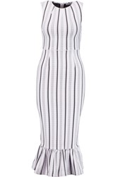 Opening Ceremony Lotus Striped Textured Jersey Dress White