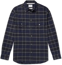 Norse Projects Checked Cotton Flannel Shirt Blue