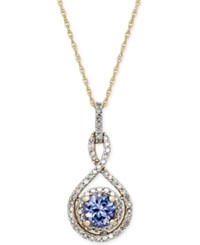 Macy's Tanzanite 3 8 Ct. T.W. And Diamond 1 4 Ct. T.W. Pendant Necklace In 14K Gold Yellow Gold