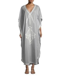 Flora Bella Saadi V Neck Cotton Voile Kaftan Coverup W Embroidery Gray