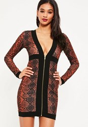 Missguided Red Crepe Snake Zip Detail Bodycon Dress Orange