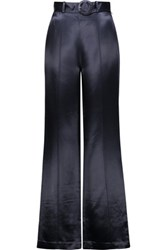 Cinq A Sept Hera Belted Satin Wide Leg Pants Midnight Blue