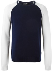 Ports 1961 Contrast Sleeve Sweater Blue