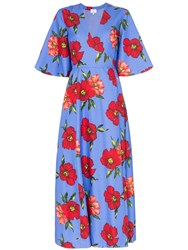 Rebecca De Ravenel Floral Print Silk Wrap Dress Blue