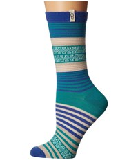 Ugg Merino Wool Stripe Crew Socks Azul Women's Crew Cut Socks Shoes Blue