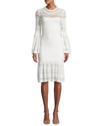 Herve Leger Bell Sleeve Bandage Knit Dress White Pattern