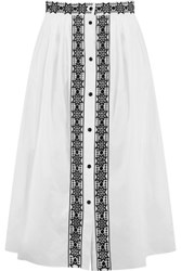 Temperley London Magda Pleated Embroidered Midi Skirt White