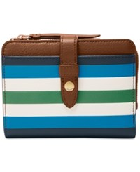 Fossil Fiona Multifunction Wallet Blue Patchwork