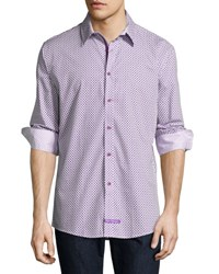 English Laundry Diamond Print Sport Shirt Purple