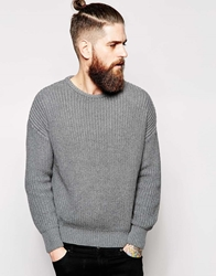 American Apparel Knitted Fishermans Crew Neck Jumper Grey