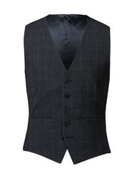 Alexandre Of England Men's Astor Check Waistcoat Charcoal