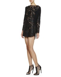 Emilio Pucci Long Sleeve Leather And Lace Fringe Dress Black
