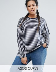Asos Curve Oversized Striped Long Sleeve T Shirt Multi