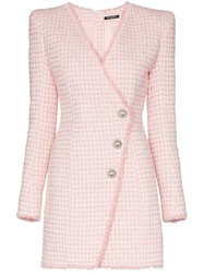 Balmain Asymmetric Button Tweed Blazer Dress Pink
