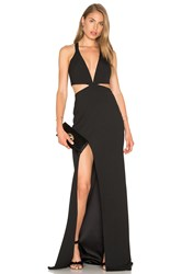 Michelle Mason Cut Out Plunge Gown Black