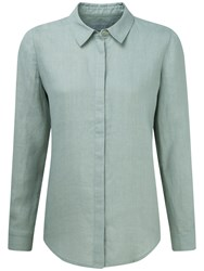 Pure Collection Riley Laundered Linen Shirt Zen Green