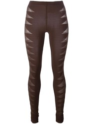 Rick Owens Lilies Sheer Detail Leggings Brown