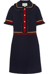 Gucci Faux Pearl Embellished Ruffled Wool Blend Mini Dress Navy