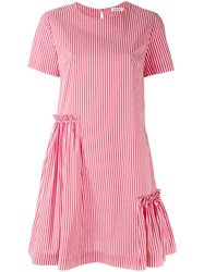 P.A.R.O.S.H. Short Sleeve Striped Dress Women Cotton Polyamide Spandex Elastane M Red
