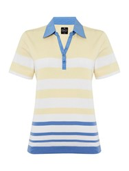 Tigi Short Sleeve Stripe Polo Top Yellow