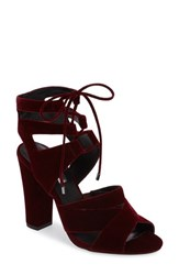 Halogenr Women's Halogen Lani Strappy Lace Up Sandal Dark Burgundy Velvet