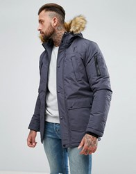 11 Degrees Parka In Grey With Faux Fur Hood