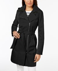 Vince Camuto Hooded Asymmetrical Trench Coat Black