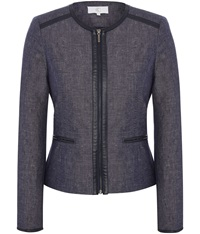 Cc Tencel Zip Front Jacket Indigo
