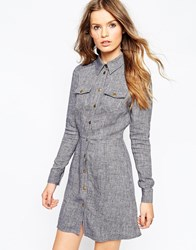 Asos A Line Shirt Dress In Natural Fibre Indigo Denim