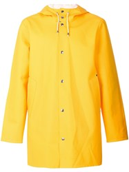 Stutterheim Hooded Raincoat Yellow And Orange