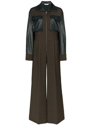 Rejina Pyo Tate Faux Leather Trimmed Jumpsuit Green