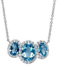Lord And Taylor Blue White Topaz Sterling Silver Pendant Necklace