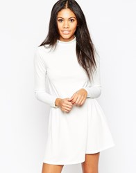 Influence High Neck Long Sleeve Swing Dress White
