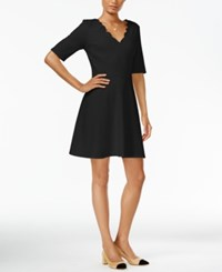 Maison Jules Scalloped Fit And Flare Dress Only At Macy's Deep Black