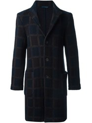 Lardini Checked Overcoat Brown