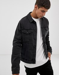 Only And Sons Denim Jacket In Washed Black Denim