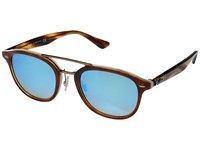 Ray Ban 0Rb2183 53Mm Brown Havana On Horn Beige Green Gradient Brown Mirror Pink Lens Fashion Sunglasses Blue